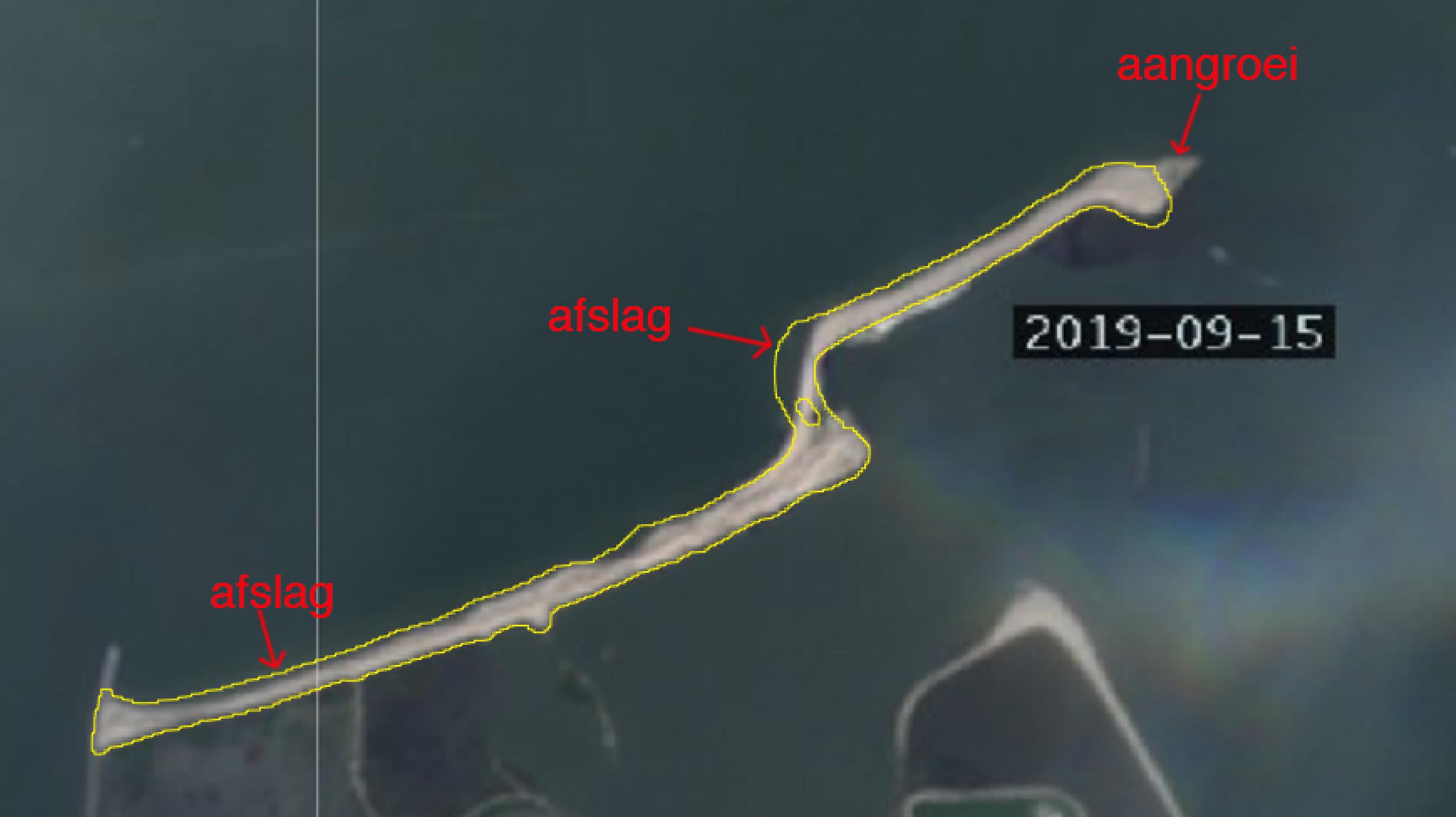 Veranderingen aan het noorderstrand van de Markerwadden (bron Sentinel-satteliet).