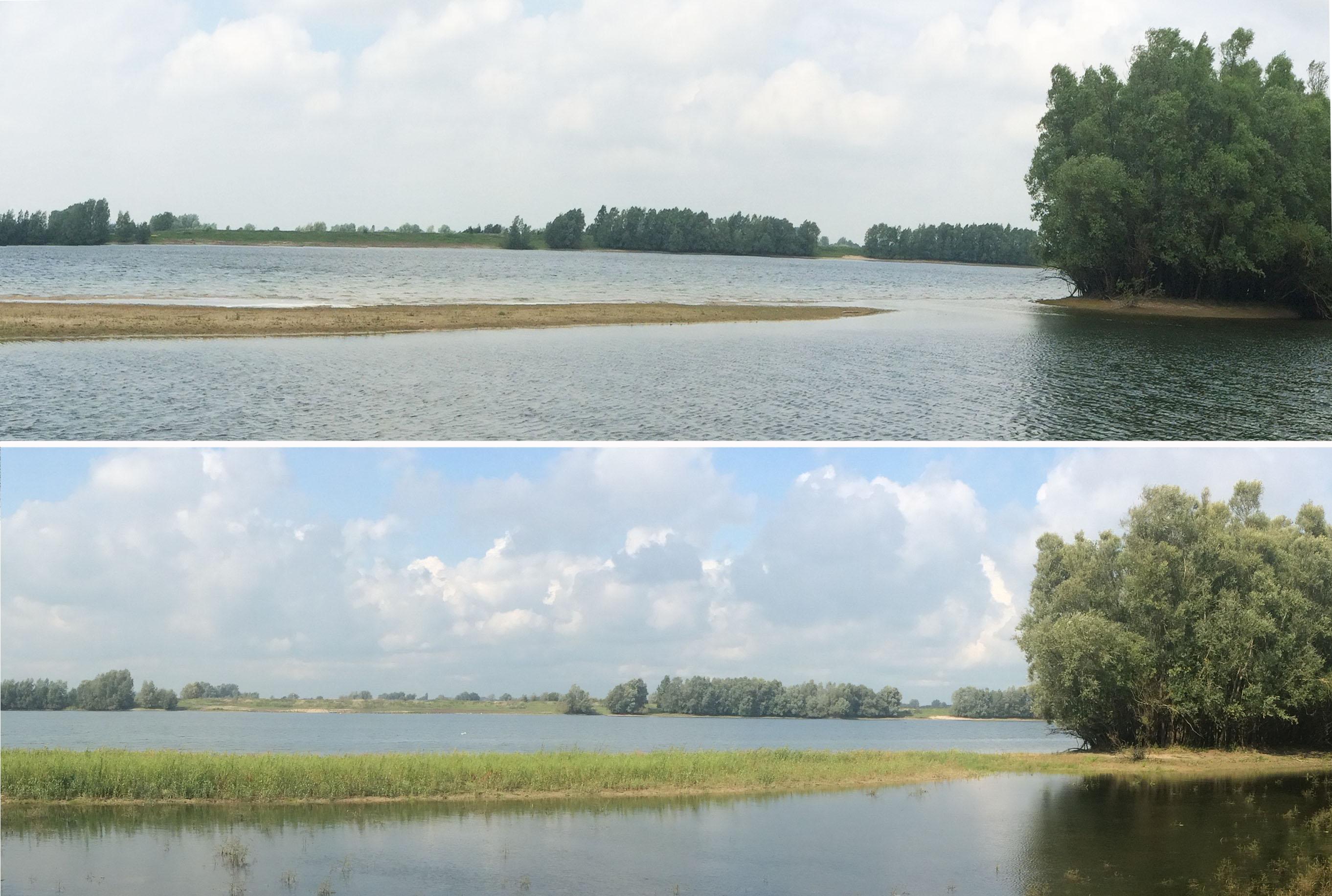 Vergelijking eilandje in plas mei en september 2017